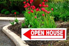 28075301 - real estate open house directional sign with pointing arrow in a flower garden in front yard of a resale house for sale by realtor broker